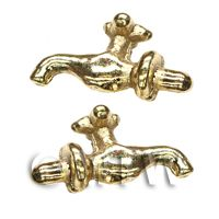 Pair of Dolls House Miniature 1:12th Scale External Brass Taps