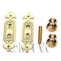 Dolls House Miniature Brass Door Knob And Fleur De Lis Plate Set