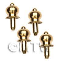 4 x 4.5mm Dolls House Miniature Brass Classic Door Knobs