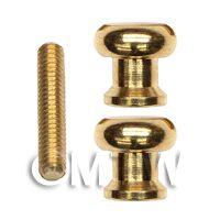 Pair of 6mm Dolls House Miniature Brass Threaded Door Knobs & Screw