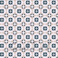 1:24th Blue And Brown Star Design Small Tiles On A Pale Rose Background