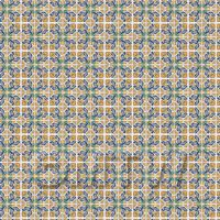 1:24th Yellow And Blue Flower Design Tile Sheet With Black Grout