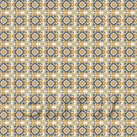 1:24th Orange And Yellow Star Design Tile Sheet With Grey Grout