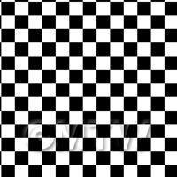 1:24th Classic Black And White Large Checkerboard Design Tile Sheet