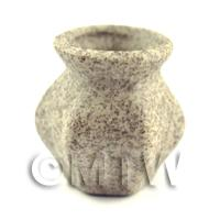 Dolls House Miniature Handmade Ceramic Stoneware 6 Sided Vase