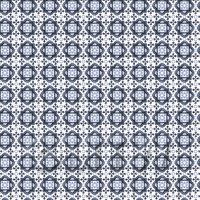 Dolls House Miniature - 1:24th Mixed Blue Ornate Pattern Tile Sheet With Light Grey Grout
