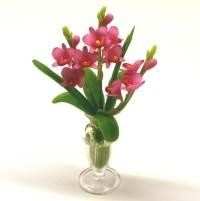 Dolls House Miniature Pink Dendrobium Orchids in a Glass Vase