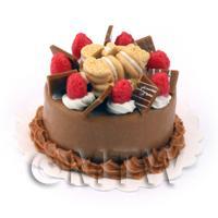 Dolls House Miniature Strawberry Chocolate Cake
