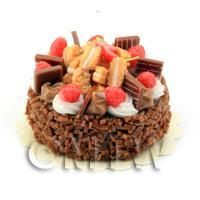 Dolls House Miniature Strawberry Chocolate Fudge Cake