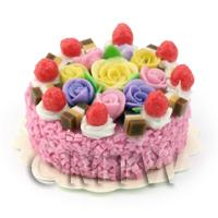 Dolls House Miniature Strawberry Rose Cake