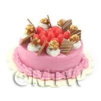 Dolls House Miniature Strawberry Chocolate Nut Cake