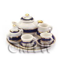 Dolls House Miniature Blue and Metallic Gold Spiral Tea Set