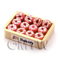 Dolls House Miniature Pink Iced Donuts in a Wood Tray
