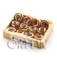 Dolls House Miniature Iced Donuts in a Wooden Bakers Tray