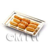 Dolls House Miniature - Dolls House Miniature  Sweet Iced Buns On A Metal Tray