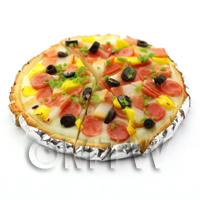Dolls House Miniature Pre-Cut Pepperoni Topped Deep Pan Pizza