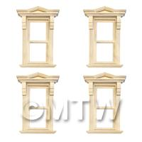 1/12th scale - 4 x Dolls House Single Opening Sash Window With Small Pointed Parapet