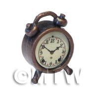 Dolls House Solid Metal Antique Brass Effect Old Style Alarm Clock