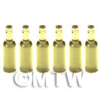 Set of 6 Pale Yellow Dolls House Miniature Resin Wine Bottles