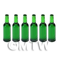 Set of 6 Bottle Green Dolls House Miniature Resin Wine Bottles