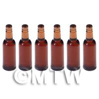 Set of 6 Brown Dolls House Miniature Resin Drinks Bottles