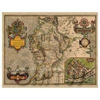 Dolls House Miniature John Speed Aged Connaugh Map