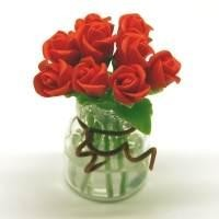 9 Miniature Red Roses in a Short Glass Vase