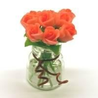9 Miniature Pink Roses in a Short Glass Vase