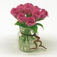 9 Miniature Violet Roses in a Short Glass Vase