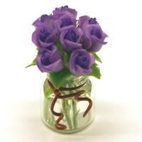 9 Miniature Purple Roses in a Short Glass Vase