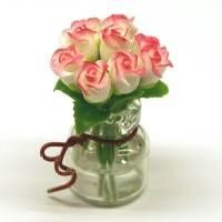 9 Miniature White Roses in a Short Glass Vase