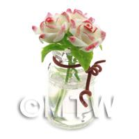 3 Miniature White/Pink Edge Roses in a Short Glass Vase