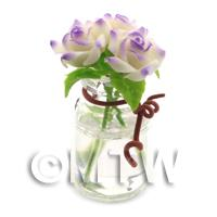 3 Miniature White/Purple Roses in a Short Glass Vase
