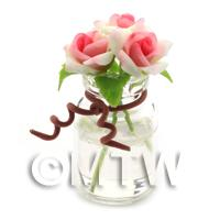 3 Miniature White/Pink Roses in a Short Glass Vase