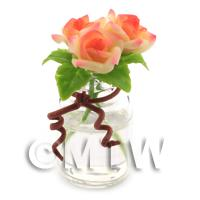 3 Miniature Yellow/Red Roses in a Short Glass Vase