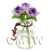 3 Miniature Purple/White Roses in a Short Glass Vase