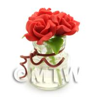 3 Miniature Bright Red Roses in a Short Glass Vase