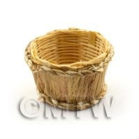 Dolls House Miniature Half Barrel Style Basket