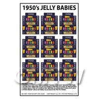 Dolls House Miniature Packaging Sheet of 9 1950s Jelly Baby Boxes