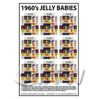 Dolls House Miniature Packaging Sheet of 9 1960s Jelly Baby Boxes