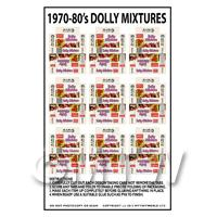 Dolls House Miniature Sheet of 9 Dolly Mixture Boxes From the 70s/80s