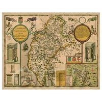 Dolls House Miniature John Speed Aged Cumberland Map