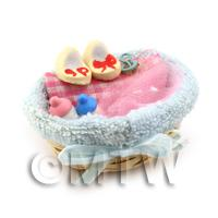Dolls House Miniature Baby Basket Complete With Accessories