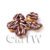 Dolls House Miniature Flower Shaped Chocolate Iced Glazed Donut