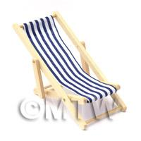 Dolls House Miniature Blue and White Garden Deck Chair