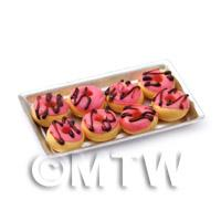 Dolls House Miniture Pink Iced Donuts On A Tray