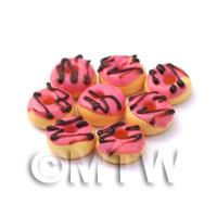 Dolls House Miniature Pink Glazed Chocolate Donuts