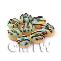 Dolls House Miniature Blue Glazed Chocolate Donut
