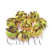 Dolls House Miniature Green Glazed Chocolate Donuts