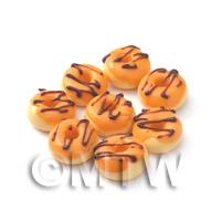 Dolls House Miniature Orange Glazed Donuts With Chocolate Icing